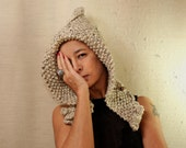Chunky Hat, Knit Beanie Hat, Ear Flap, Thick Cowl Hat, Rustic Hoodie Hood, Pixie Hat, Unisex Warm Hat,  Alpaca Wool Hat Fall Winter Fashion