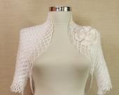Hand Knit Crochet White Wedding Shrug Bolero (S-M-L) Flower Brooch-Spring Summer Bridesmaid Bridal Lace Fashion-Short Sleeve Jacket Cardigan