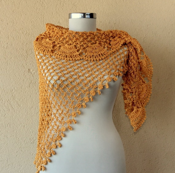 Coming From the Sun / Bridal Shawl Wrap / Crochet Mustard Saffron Viscose Lace  / Spring Wedding