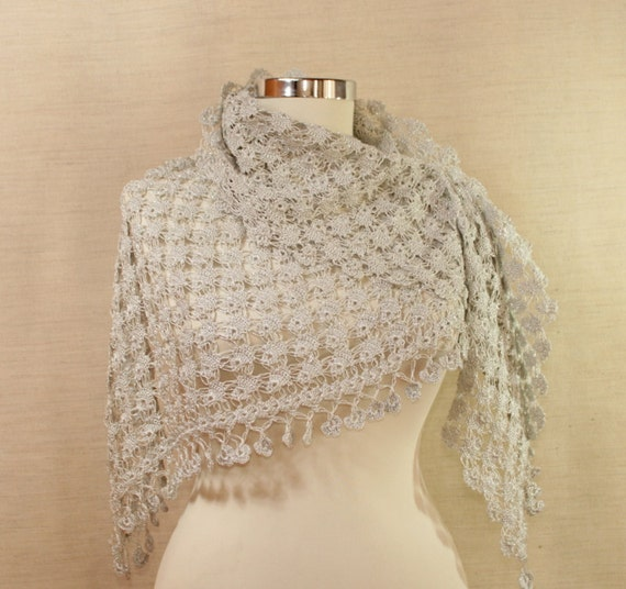 In the Chill of the Night / Crochet  Shawl Wrap. Wedding Bridal  / Bridesmaid Bride / Light Grey Metallic  Viscose