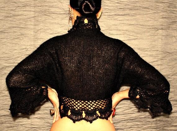 Crochet Shrug, Knit Shrug, Black Bolero Jacket, Sweater Shrug, Ruffle Bridal Shrug Bolero, Winter Wedding Shrug, 3 4 Sleeve Crochet Cape