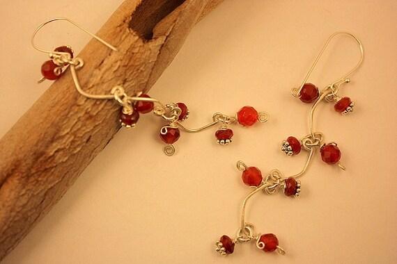 Long Earrings Carnelian Dangle Earrings Sterling Silver Handmade Wire Wrapped