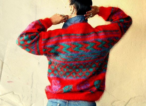 Warm, Warmer, Warmest / Red Green Sweater / Hand Knit Crew Neck, Long Sleeved / Unique