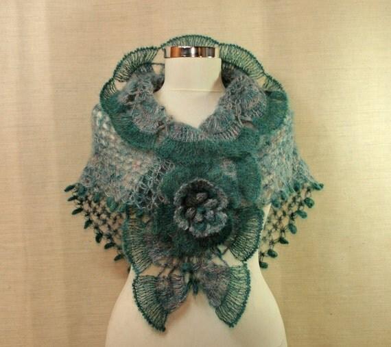 Seasparkle of Marmara / Crochet Teal Grey Wedding Shawl-Flower Brooch-Wedding Bridal Wrap-Spring Bridesmaid Neck Lace Neck Warmer