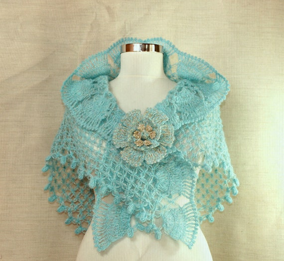 Coral Blue / Bridal Shawl Wrap Aquamarine Sky Blue Triangle Ruffle Shawl Crochet Wedding Shawl Wrap Stole  Bridesmaid Bridal Accessories