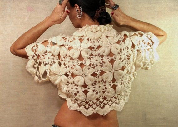 Stunning Nights of Bosphorus / Crochet Bridal Ivory Shrug Bolero / Spring Wedding / White Off Cream Bridal Lace