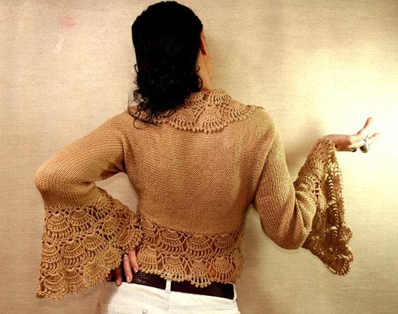 Hot Chocolate / Bridal Shrug Bolero - Knit, Crochet Ruffle Cardigan-Long Bell Sleeve Bolero Jacket - (S-M-L) Chic Boho