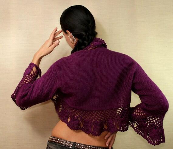 Dancing With Fall / Knit Shrug Crochet Bolero Purple Ruffle Shrug 3/4 Bell Sleeve Bolero Jacket Wedding Bridesmaid Bridal Bolero Shrug S M L