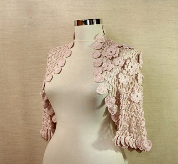 Just Like A Dream /Soft Pink Wedding Bridal Shrug Bolero-Romantic Bridesmaid-Organic Cotton Bolero Jacket-3D Flowers