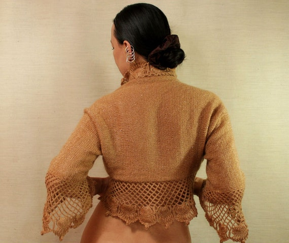 A Flower Named Desire / Knit Shrug Bolero Crochet Shrug Knit Sweater Cardigan Wedding Bridal Shrug Gold Caramel Shrug 3/4 Bell Sleeve Bolero