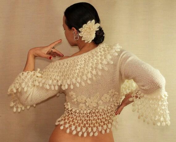 A Change Is Gonna Come / Ivory Shrug Bolero-Flowers with Crystal Swarovski (S-M-L) Luxury 3/4 Bell Sleeve Bolero Jacket, Bridal Shrug Bolero