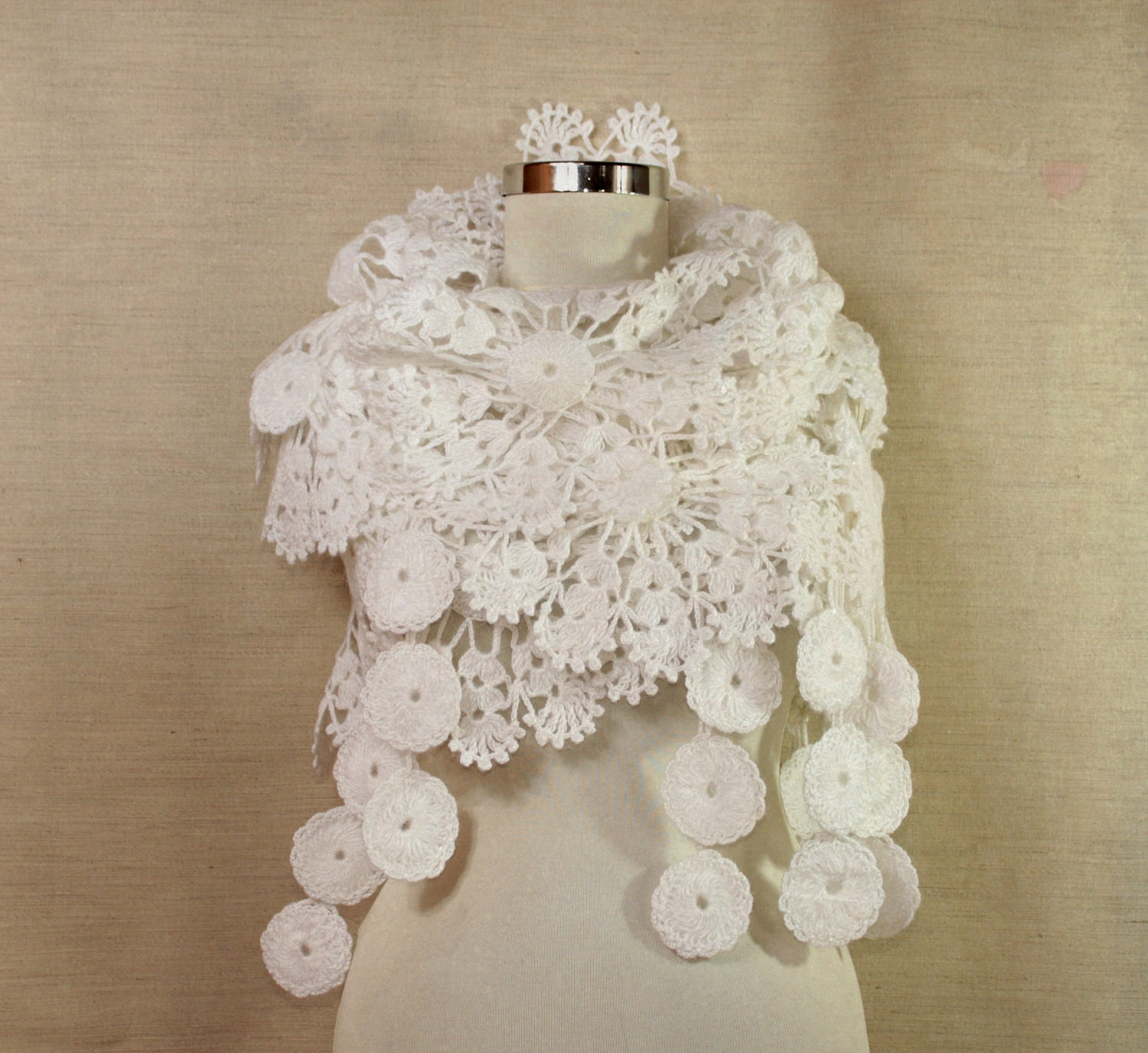 Crochet Lace Wedding Shawl Pattern : May Flowers / Crochet Lace Shawl Wrap Scarf Bridal Shawl