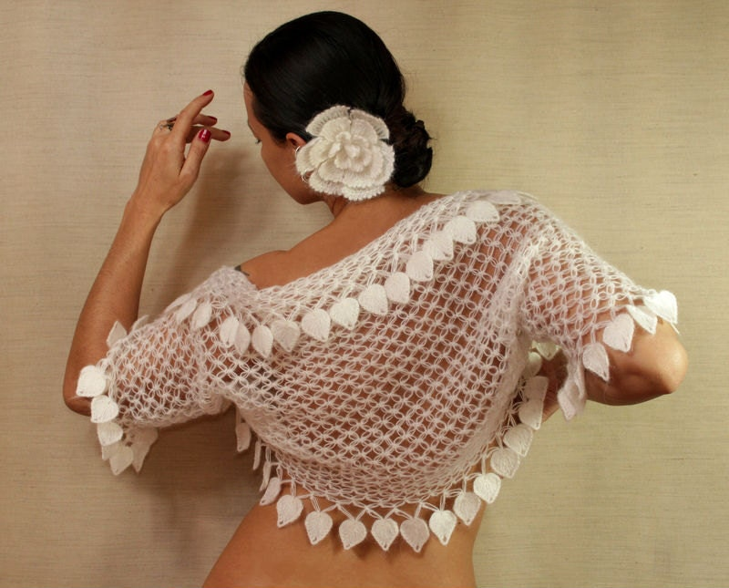 White Bridal Shrug Bolero Crochet Bolero Jacket by lilithist