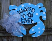 Whimsical polka dot distressed wood crab sign door art personalized Welcome to the beach