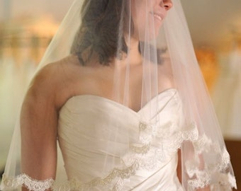 Alencon lace veil Waist Length Lace 2 Tier Wedding Veil - Eleanor