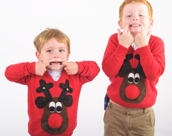 Kids Rudolph Reindeer brown face Christmas Sweater with squeaker and bells