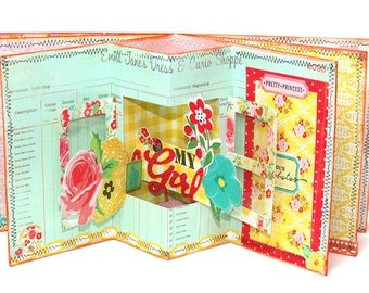 Crate Paper pink and green pop up book class / tutorial