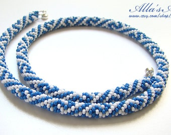 Blue and white crochet seed bead choker rope