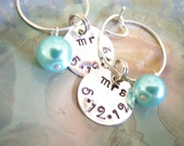 wine charms, Hand Stamped Personalized Wine Charms, Wedding Favors, Girls night out, Party Favor, Personalization Gift