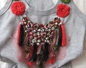 t-shirt with handmade tassel necklace