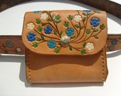 Leather Belt Pouch, Flower Design