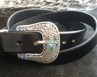 Thin One inch wide Black Leather Western Belt with Beautiful Silver and Blue Flower Buckle Set