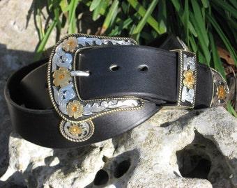Black Leather Western  Belt w/ Elegant Amber Canyon Buckle Set and Conchos