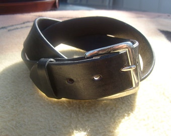 Classic Black Leather Belt , Black Dress Belt w/ Rich Glossy  Finish