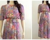 Vintage Romantic Wildflower Secretary Dress M L