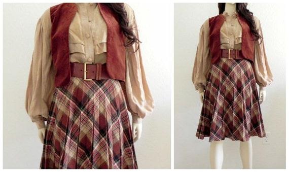 Vintage 70s Chocolate Plaid Pleated Knee Length Skirt S M