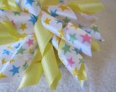 Korker Bow - Yellow and Pastel Stars