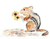 Large Art Greeting Card, cute animal, chipmunk & flowers - For You, 5x7 Picture