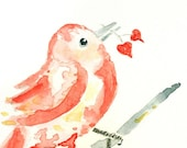 Art Greeting Card, Love Greeting Card, Card for Girlfriend, Card for Boyfriend, bird watercolor -  I Love You Twice as Much