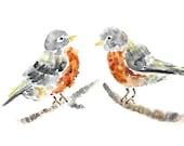 robin painting, nursery wall art, bird art print, gift for friend, animal painting, watercolor birds, bird wall art