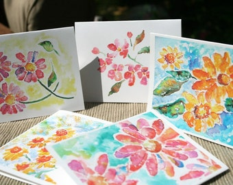 Flower Notecards, Notecard Set, watercolor cards, Gift for Grandma, Colorful Notecards, Watercolor Notecards