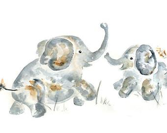 Greeting Card for new mom, card for expecting mom, elephant art card, elephant nursery art