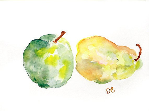 Original watercolor painting, Kitchen Art, Kitchen wall decor, Apple Watercolor, pear, green wall art, yellow,  home decor - Fruit Splash