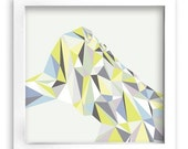 FREE Shipping - Modern Art Print - 12inx12in Triangles Lime Green