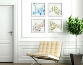 FREE Shipping -  Art Prints - Triangles Set of 4 12 inch x 12 inch