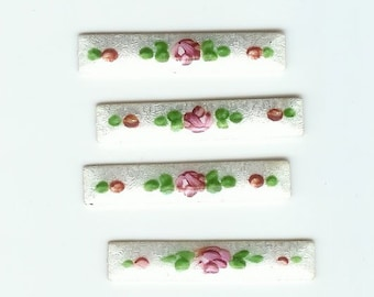 Vintage Guilloche Enamel Cabs with Roses