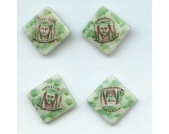 4 Vintage Egyptian Revival Small Porcelain Cabs