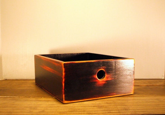 Black Over Red Wooden Storage Box