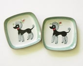 Glidden Pottery Poodle Plate Set 2 American Mid Century