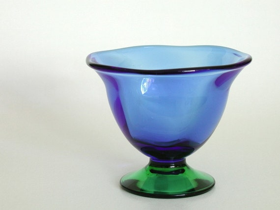 Orrefors Louise Pedestal Bowl Or Vase Blue Amp Green Glass