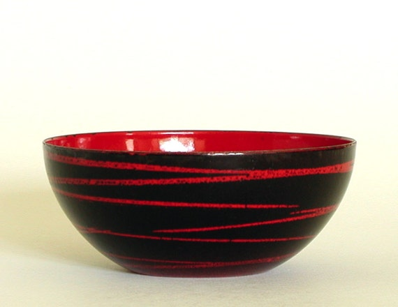 Cathrineholm Saturn Bowl Red Enamel Mid Century Norway