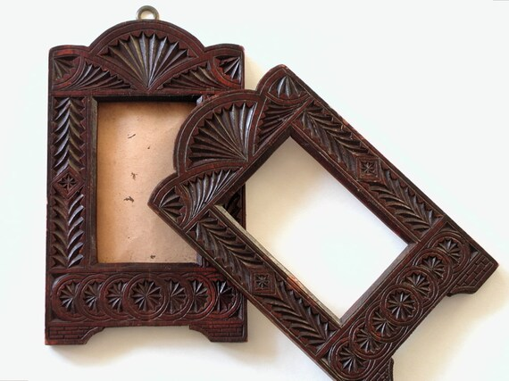 Picture Frames Folk Art Pair Antique Chip Carved Handmade