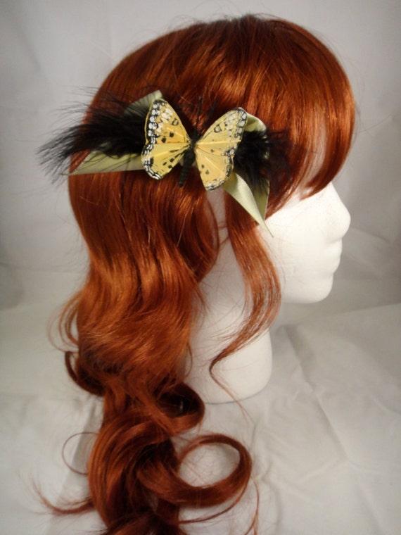 Handmade Yellow Butterfly Hair Clip