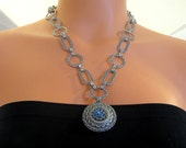 Silver plated necklace with blue Swarovski crystal pendant