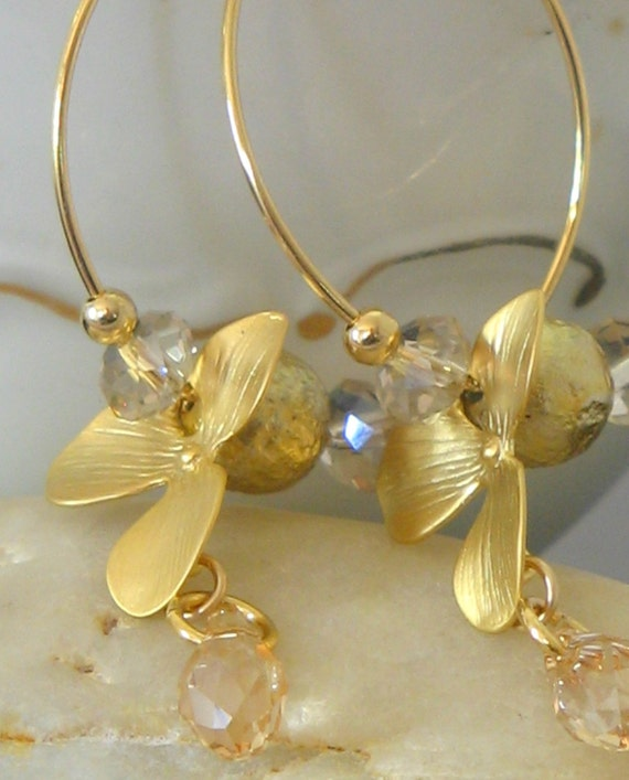 Swarovski orchid hoop earrings - 16 karat gold plated