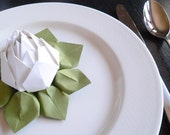 Origami Lotus Flower Table Decoration or Wedding Favor // White and Moss Green